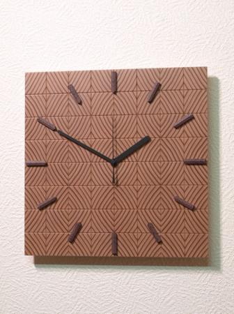 005、木口寄木の時計「つむぎ」レッドウッドの木の壁掛け時計.jpg